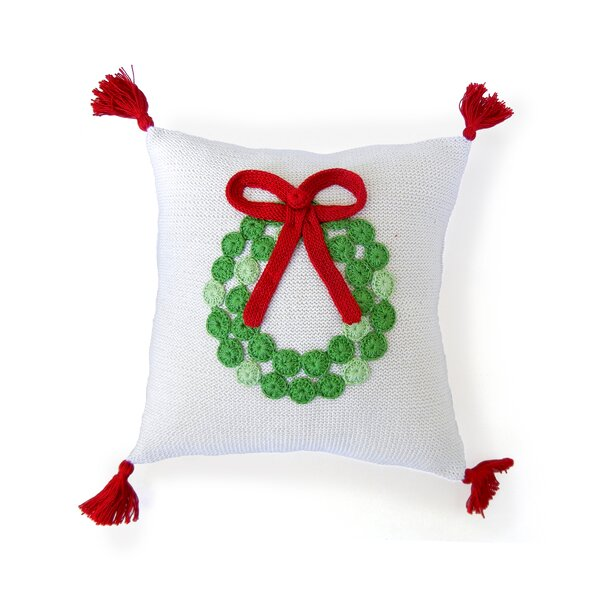 Wreath Christmas 100% Cotton Throw Pillow by The Holiday Aisle